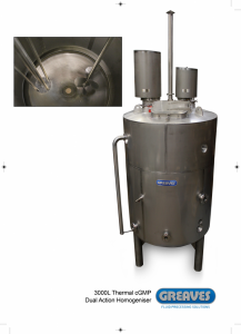 3000L thermal cGMP homogeniser